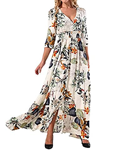 Yidarton Women's Beach Floral Maxi Dress V-Neck Split Button Up Half Sleeve Sexy Long Dress(S,