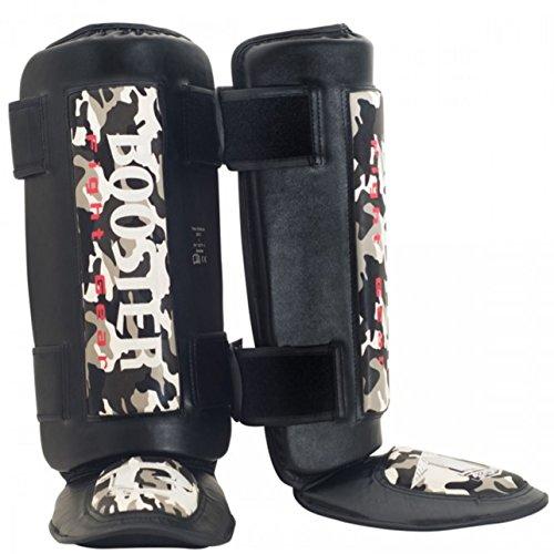 Booster Schienbeinschützer Thai Striker - Grey Camo - Kampfsport Muay Thai Thaiboxen MMA Kickboxen Schienbeinschützer Schienbeinschoner Sparring mit Gel Polsterung (L)