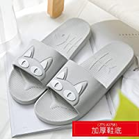 fankou Slippers Women Indoor Summer Anti-Slip Home with Lovely Cartoon Couples Home Bath Bathroom Cool Slippers Male Summer,39-40, Gray White Cat (Thick)