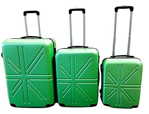 Dublin set da 3 pezzi valige trolly in abs e policarbonato con 4 ruote girevoli 360° gradi colori vari (verde)