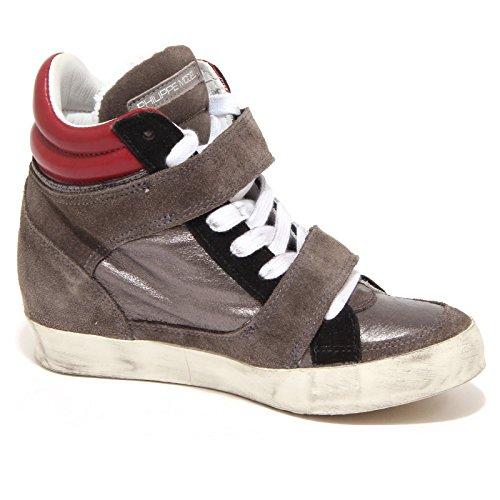 5528O sneaker donna PHILIPPE MODEL grigio/bordeaux scarpa shoe woman grigio/bordeaux