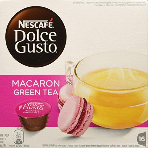 NESCAFÉ DOLCE GUSTO MACARON GREEN TEA Tè verde al gusto di macaron al lampone 3 confezioni da 16 capsule (48 capsule) 72