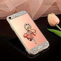 SainCat Funda Galaxy Note 5, Brillante Anti-Scratch Silicona Case Diamante Brillo Bring Flores Espejo con Anillo Brillantes Cristal Diamante Espejo Mirror Case Samsung Galaxy Note 5-Oro Rosa