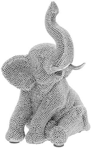 Estatua de elefante sentado de plata con purpurina
