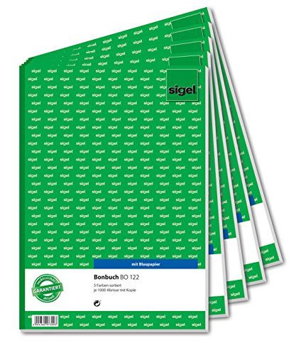 SIGEL BO122 Bonbücher 5er Set á 1000 Abrisse, in  gelb, rosa, weiß, grün, blau, A4, 2x50 Blatt