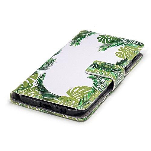 Linvei Samsung Galaxy A3(2017) Etui Cuir Coque,[Conception de motif coloré][PU Cuir Housse][Portefeuille Flip][Stand soutien/Card Slot /fermeture magnétique]-Plante tropicale verte Plante tropicale verte