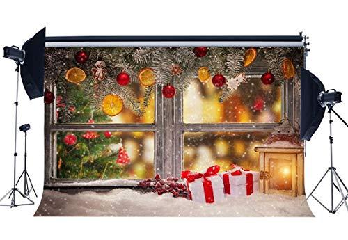 GzHQ Weihnachtshintergrund 10X8FT Vinyl Heavy Snow Kulissen Laterne Fenster Lebkuchen Rote Beere Weihnachtskugeln Winterfotografie Hintergrund Happy Year Foto Studio Prop YX989 - 8' Vinyl