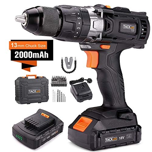 TACKLIFE 18V Cordless Drill Set with Hammer Action, 2pcs 2000mAh Li-Ion Batteries, 13mm Chuck Max Torque 35N.m, 2 Speed Drill Driver 1 Hr Fast Charger, 43pcs Accessories and Compact Case Included, PCD04B