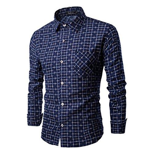 Men's Fashion Plaid Camisetas Slim Fit Long Sleeve Casual Shirts Navy blue