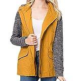 KUDICO Damen Lässigen Mantel Plaid Patchwork ReißVerschluss Pocket Drawstring Kapuzenjacke Sweatshirt Tops Bluse(Gelb, EU-40/CN-L)