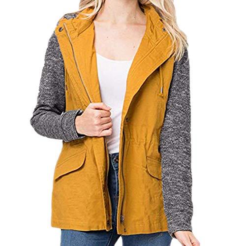 OverDose Damen Sportjacke Wärmemantel Damen Kapuzen Plaid mit Diagonal Kragen Shirt Laufen Wandern Slim Soft Jacke Kordelzug und Top Bluse(Gelb,EU-32/CN-M) -