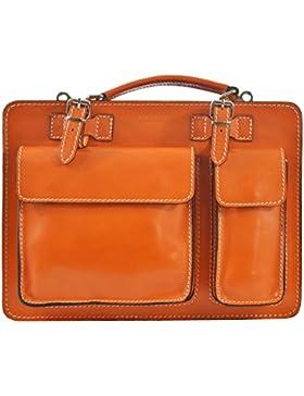 CTM Unisex Business Tasche, Aktentasche, Organizer in italienischem Leder Made in Italy D7006 - 35x25x12 Cm