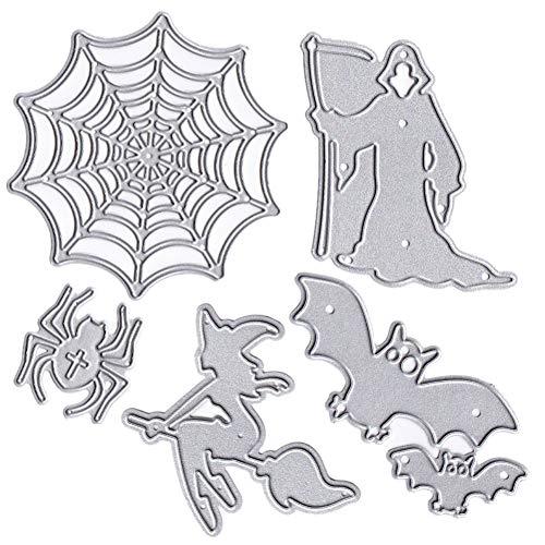 (6Stück Halloween Metall Formen gruselige Hexe Spider Web Death Sichel Embossing Schablone für DIY-Geschenk Karten Sammelalben und zum Basteln)