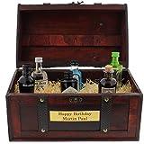 Die kultige Geschenkidee - 6 Flaschen Gin in witziger Piraten-Schatzkiste und mit Ihrer persönlichen Gravur