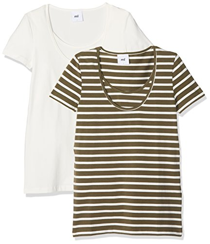 MAMALICIOUS Damen Umstands-T-Shirt Mllea Organic Nell S/S MIX Top NF 2-Pack Mehrfarbig (Snow White Pack:Ivy Green W/Snow White Stripes), 38 (Herstellergröße: M)