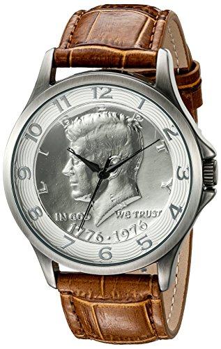 August Steiner-Orologio da uomo al quarzo con Display analogico e cinturino in pelle marrone CN010SSBR