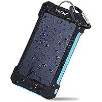Innoo Tech Cargador Solar 10000mAh,Power Bank portátil con Batería Externa y Protección IP65(a prueba de golpes,agua,polvo),Indicadores y linterna LED para teléfono Android,Apple,Altavoces