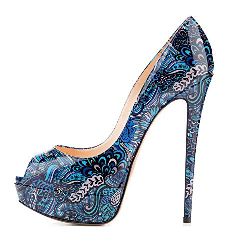 elashe- Scarpe da Donna - 15CM Scarpe col Tacco Peep Toe - Classiche Scarpe con Plateau Fiore-Blu EU36