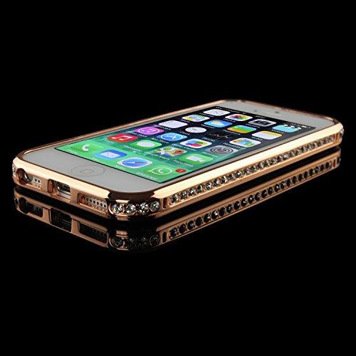 Urcover® Diamond Glitzer Bumper kompatibel mit Apple iPhone 5 / 5s / SE, Strass Schutzhülle Handyhülle Alu Case Cover Schale Aluminium Schutz Rahmen Kupfer Gold