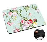 002432 - Floral Vintage Shabby Chic Roses Fleur Girly Cute Design Macbook PC Laptop Anti-slip Tapis de Souris Mousepad Mouse Mat Tpu Leather-Slim 3MM