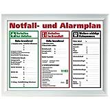kaufdeinschild A4 Weißer Rahmen Schild Aushang Notfallplan Alarmplan gerahmt Zum beschriften