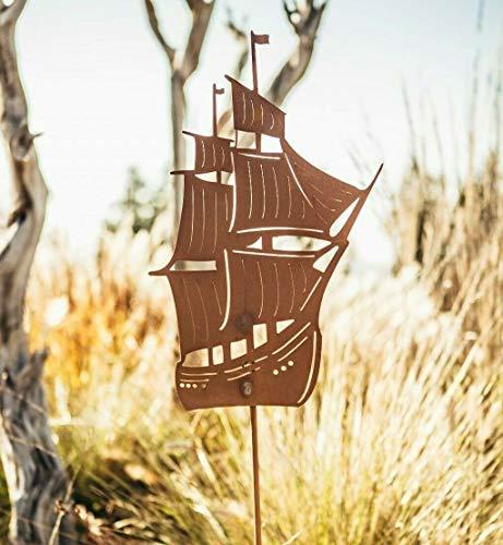 F.Design Rostalgie Edelrost Gartenstab Segelschiff 120cm, inkl. Herz 8x6cm Boot Gartenstecker Segeln Schiff Deko