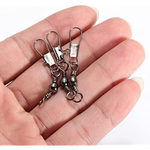 100 piezas de conectores Pesca Anillos sólido con Interlock Snap.