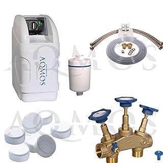 Hochwertige Wasserenthärtungsanlage/Entkalkungsanlage / Wasserenthärter Set von Aqmos | Haushalte bis zu 3 Personen | Kein Kalk im Wasser mehr