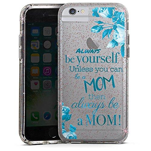 Apple iPhone 8 Bumper Hülle Bumper Case Glitzer Hülle Spruch ohne Hintergrund Transparent Mama Bumper Case Glitzer rose gold