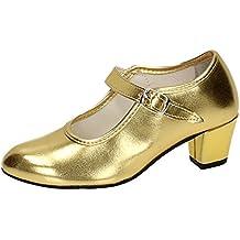 Happy Dance 577042 - Zapatos de Flamenco para Principiante, con Hebilla, para Mujer, Color Oro, Talla 29