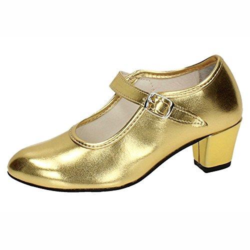 MADE IN SPAIN 22 Zapato DE Flamenco NIÑA Zapatos TACÓN Oro 30