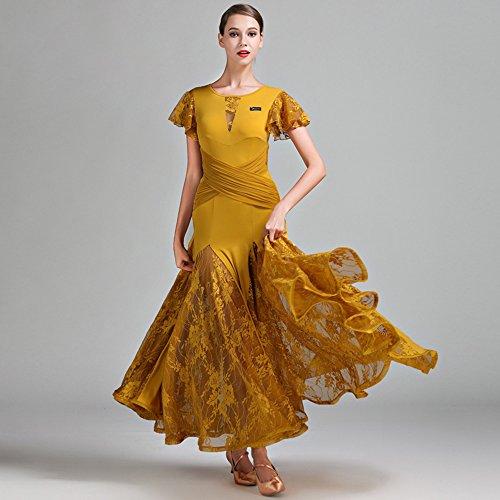 Moderne Dame Große Pendel Spitze Kurze Ärmel Modern Dance Dress Tango Und Walzer Tanz Kleid Tanzwettbewerb Rock Lotus Blatt Ärmel Kleid Tanz Kostüm,Yellow,M