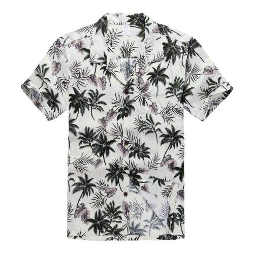 Hombres-Aloha-camisa-hawaiana-en-Hibisco-y-hoja-de-Palma-Rojo-XL