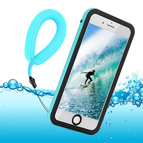 iPhone 8 Hülle Wasserfeste, Zertifiziert Wasserdicht Ultra Dünn Outdoor Handy Hülle Stoßfest Staubdicht Staubdicht Kratzfestes Gehäuse Full Body Robuste Schutzhülle mit Displayschutz Unterwasser Tasche Case für Apple iPhone 8 / iPhone 7 Hülle, schwarze + schwimmende armband