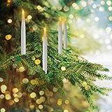 Mobestech 6 pezzi led simulazione luce a lume di candela palo senza fiamma albero di natale clip candela lampada per matrimonio natale compleanno bianco (bianco caldo)