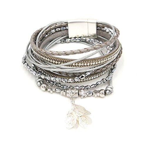 romantisches Wrap Wickel Armband Blatt Anhänger Blume Glitzer Strasssteine Magnetverschluss (8451) (silber (Weihnachts Ferien Outfits)
