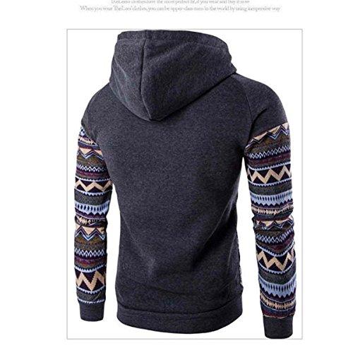 Herren Langarm mit Kapuze Ethno-Stil bedruckt Baumwolle Pullover Sweatshirts Dunkelgrau