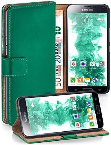 moex® Booklet mit Flip Funktion [360 Grad Voll-Schutz] für Samsung Galaxy S5 Mini | Geldfach & Kartenfach + Stand-Funktion & Magnet-Verschluss, Dunkel-Grün