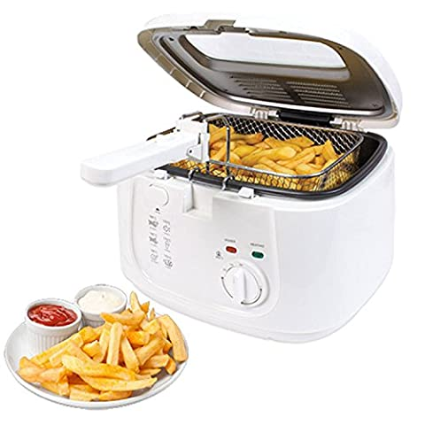 NEW WHITE 2.5L ELECTRIC DEEP FAT CHIP FRYER NON STICK PAN & SAFE BASKET HANDLE WITH WINDOW