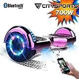 CITYSPORTS Self Balance Scooter 6,5-Zoll Bluetooth, Segway-Motor des 700W mit LED-Blitz-Rädern, elektrischer Skateboard-Kind-Erwachsene