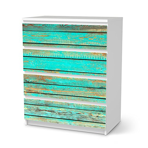 IKEA Malm 4 Schubladen Möbel-Folie Design Wooden Aqua Schutz Dekorations-Element