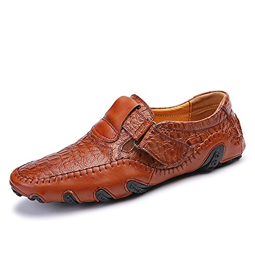 Mens Leather Shoes Slip On Loafer Flats (9 UK, Brown)