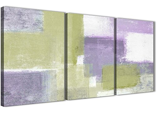 Lime Grün Lila Abstrakte Malerei Leinwand Kunstdruck-Multi, 3-125cm breit-3364Wallfillers