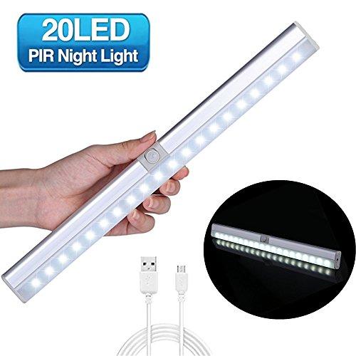 Luce per armadio, glime lampada armadio 20led con sensore luce e di movimento batteria ricaricabile 900mah, sensore regolabile, auto/on/off installabile in 3 modi - luce bianca