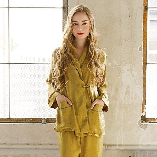 XBR vêtements ameublement de Maison Lady: corée Velvet Pyjama,Le Jaune,l