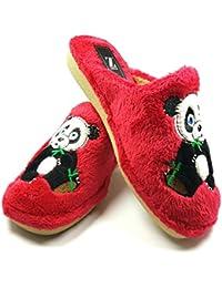 Desconocido Zapatillas casa oso panda invierno mujer cómodas calientes suaves piso pluma ligero pantuflas confort calidad