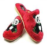 Desconocido Zapatillas casa Oso Panda Invierno Mujer Cómodas Calientes Suaves Piso Pluma Ligero Pantuflas Confort Calidad Diseño y Fabricación Española Slippers Home (39, Rojo)