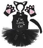 Petitebelle Stirnband Bowtie Schwanz Handschuhe Hemd Rock 6pc Mädchen-Kostüm 1-2 Yr Schwarze Katze