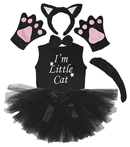 Petitebelle Stirnband Bowtie Schwanz Handschuhe Hemd Rock 6pc Mädchen-Kostüm 3-4 Yr Schwarze (Kind Tutu Black Cat Kostüm)