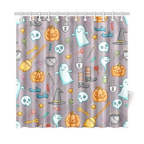 ad Vorhang Halloween Doodle Haufen Creepy Polyester Stoff Wasserdicht Duschvorhang Für Badezimmer, 72X72 Zoll Duschvorhang Haken Enthalten ()